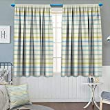 Anhounine Striped,Blackout Curtain,Watercolor Paint Brush Pattern in Pastel Tone with Grunge Effects Nouveau Artwork,Waterproof Window Curtain,Multicolor,W55 x L72 inch
