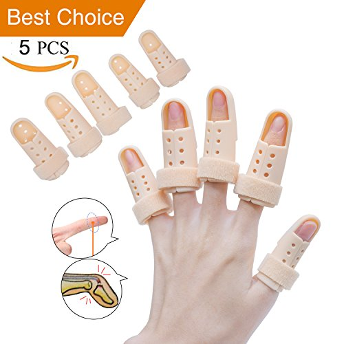 Finger Splint Brace, Mallet Finger Splints Pinky, Plastic Finger Protector Support for Arthritis Basketball,5 Pcs Finger Immobilizer for Finger Joint Pain