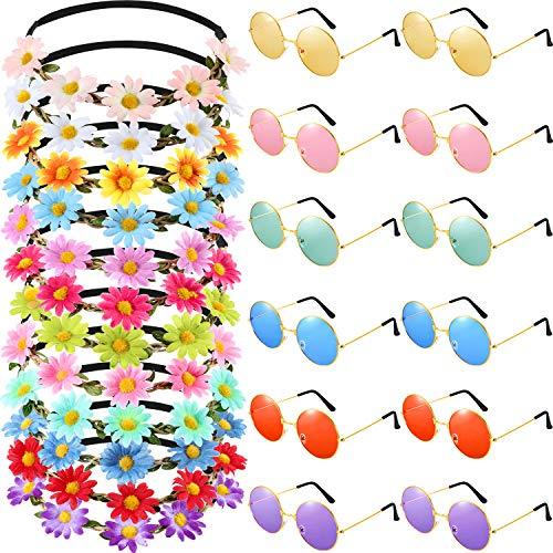 Bememo 24 Pieces Hippie Headband Glass Costume Set, Includes 12 Pieces Multicolor Lady Girl Flower Headbands, 12 Pieces Round Hippie Sunglasses for Festival Party