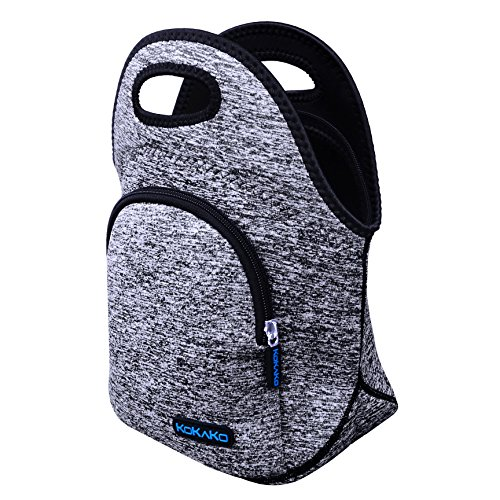 KOKAKO Lunch Boxes Neoprene Lunch Bag by Tote Washable Insulated Waterproof for Men Women Kids(GrayBlue-WithPocket) by KOKAKO