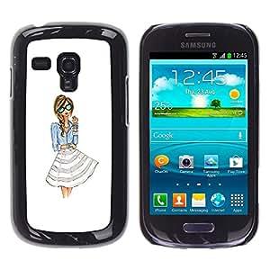 Vestido de niña de Moda Mujer Blanca Gafas- Metal de aluminio y de plástico duro Caja del teléfono - Negro - Samsung Galaxy S3 MINI i8190 (NOT S3)