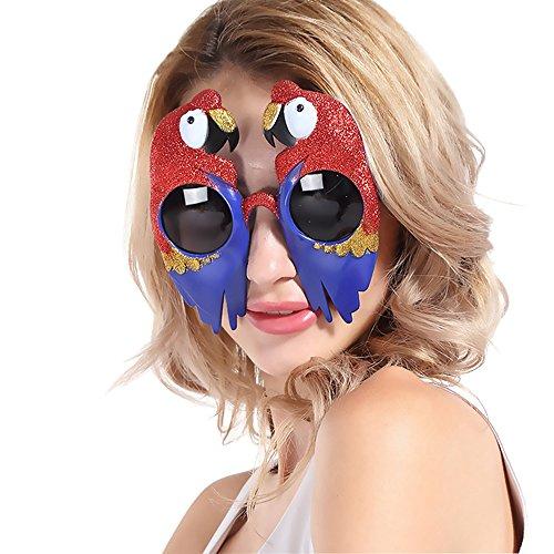 D.O.T Shiny Parrot shaped Glasses Scarlet Macaw Props Fancy Dress Creative Festive Party - Scarlet Lens