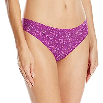 Calvin Klein Women's Printed Invisibles Thong Panty, Confetti Geo, Small