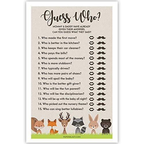 Guess Who Mommy or Daddy Woodland Creatures Baby Shower Game
