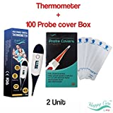 Digital Medical Baby Thermometer + Probe Covers Bundle - for Oral, Rectal & Underarm, Fast 10 Seconds Reading, with Free 100 Units Sterile Safe Temperature Thermometer Probe Covers