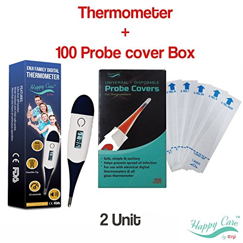 Oral Care Kens (Bundle of Best FDA Fast 10 Sec Digital Medical Thermometer for Oral, Rectal Axillary armpit Underarm and 100 unit Probe Cover Box, clinical Detecting Fever in Infant, Babies, Children Adults and Pet)