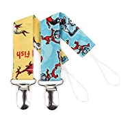 Bumkins Pacifier Clip 2 Pack, Seuss (SN-Yellow Fish/Cat in the Hat)