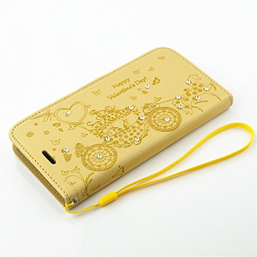 Foto Patrn Gold con LG G5 Ventana Gold case Funda Funda Flor Funda Color Resina Funda Rhinestone Folio para Piel Mariposa Funda G5 G5 SRY LG PU Stand LG de Size Relieve awnqUCHA