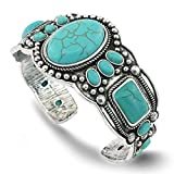 Jianxi Women's Antique Rgentium Plated Base Heart Compressed Turquoise Bracelet Cuff Bangle Fashion Jewelry …
