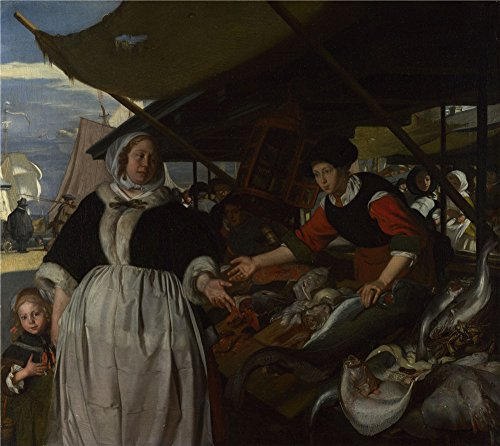 Oil Painting 'Emanuel De Witte - Adriana Van Heusden And Daughter At The Fishmarket,about 1662' 8 x 9 inch / 20 x 23 cm , on High Definition HD canvas - Georgia Coupon Shades