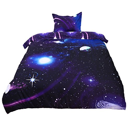 uxcell 3D Bedding Sets Bedlinen Mysterious Galaxies Sky Starry Cosmos Outer Space Night Duvet Cover Set, Single Size 2 Pieces Dark Purple (Single Purple Duvet Set)