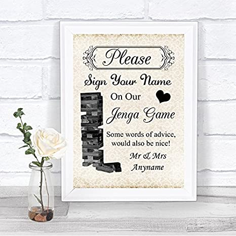 82d2b280d0cad Amazon.com : Shabby Chic Jenga Guest Book Personalized Wedding Sign ...