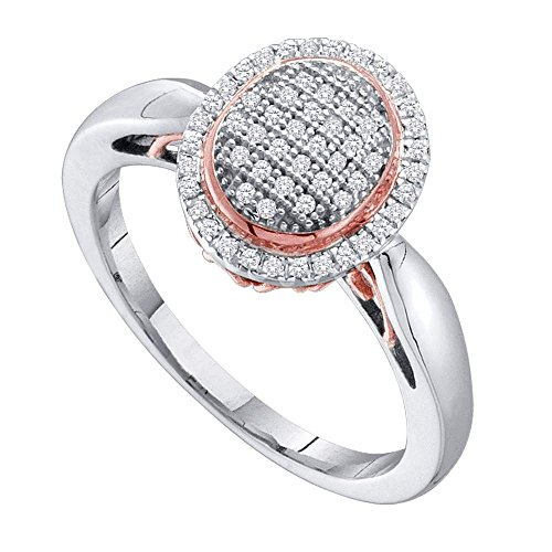 Sonia Jewels Size 7-10K White and Pink Two Tone Gold Diamond Engagement OR Fashion Right Hand Ring Band - Oval Shape Center Setting w/Micro Pave Set Round Diamonds - (1/5 cttw)