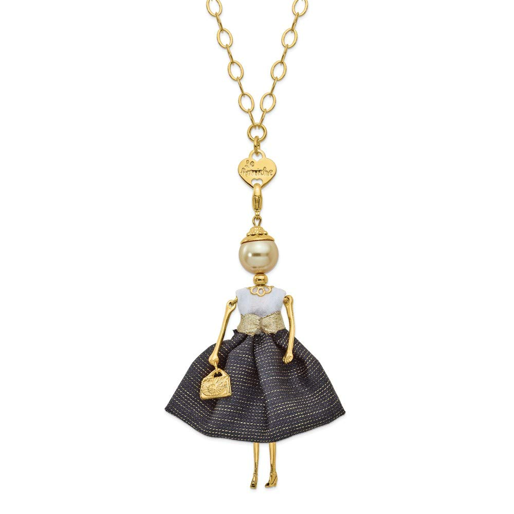Jewels By Lux Le Amiche Gold-Tone Golden Swar Sim.Pearl Black/White Doll Charm w/Chain