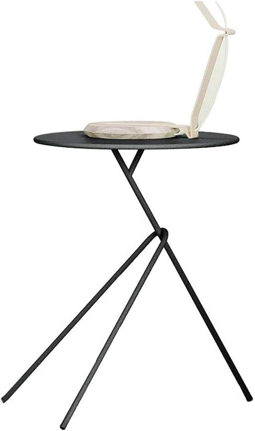 XIAOLIN 現代のラウンドメタルソファサイドテーブルホーム装飾コーナーコーヒーテーブルバルコニー植物スタンド40×53センチ (Color : Black)