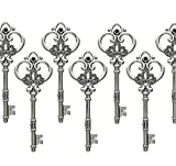 Aokbean Mixed Set of 20 Extra Large Antique Bronze Finish Skeleton Keys in Antique Style - Set of 20 Keys (Antique Silver)