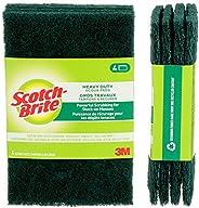 Scotch-Brite Scour Pad, 4 Pack, Heavy Duty, Garage/Outdoor/Kitchen Scrub Pad