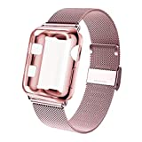 GBPOOT Compatible for Apple Watch Band 38mm 40mm 42mm 44mm with Screen Protector Case, Sports Wristband Strap Replacement Band with Protective Case for Iwatch Series 4/3/2/1,40mm,Rose Gold