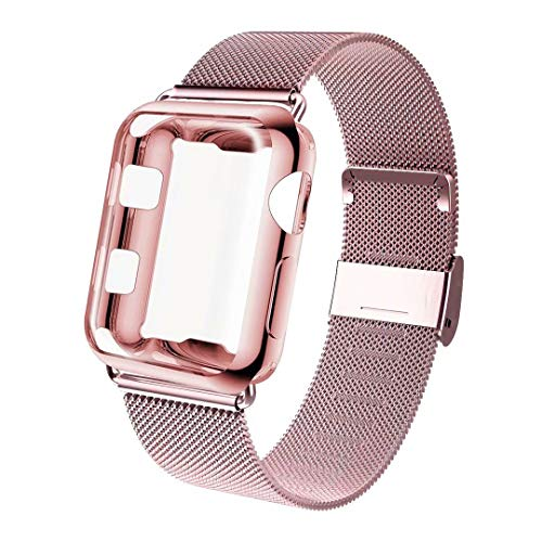 GBPOOT Compatible for Apple Watch Band 38mm 40mm 42mm 44mm with Screen Protector Case, Sports Wristband Strap Replacement Band with Protective Case for Iwatch Series 4/3/2/1,40mm,Rose Gold ()