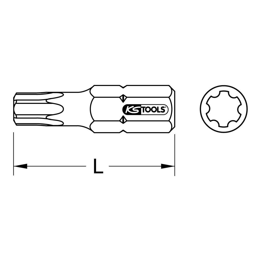 IP20 KS Tools 911.3242 1//4 CLASSIC TX PLUS Bit 30mm