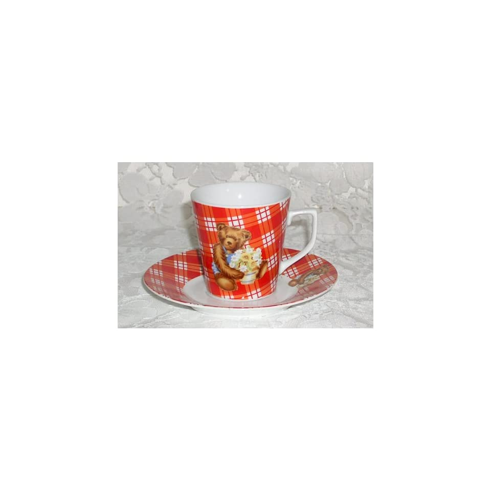 Red checkered teddy bear  porcelain cup & saucer set for six