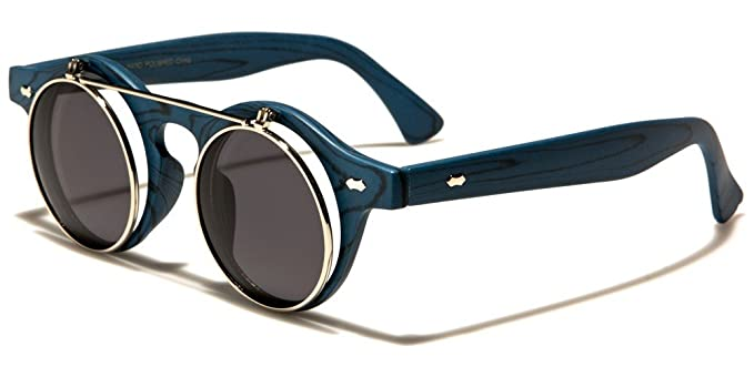 5c6682dea0 Amazon.com  Faux Wood Frame Round Flip Up Sunglasses (Blue Wood ...