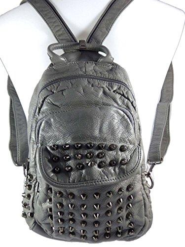 Cooler Rucksack mit Nieten in hochwertiger Lederoptik Metall-Design - Kombi Rucksack - Schultertasche Hellgrau Ohiq9O