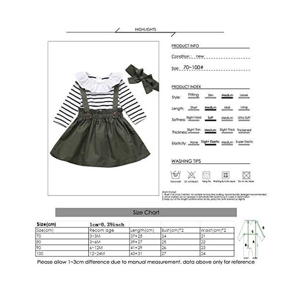 DaMohony - set di vestiti per bambina a maniche lunghe, pagliaccetto a righe, gonna con bretelle e fascia, per bambina… 7