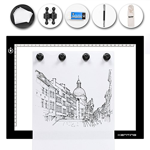 Kenting Magnetic K4M Portable LED Tracing Adjustable Light Pad Light Box Light Table USB Powered Drawing Board Tattoo Pad for Animation, Sketching, Designing, Stenciling X-Ray Viewing by KENTING