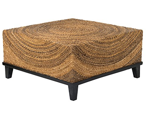 East at Main Chickasaw Brown Abaca Square Coffee Table, (Brown Natural Coffee Table)