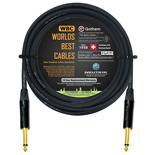 40 발-고 GAC-1 울트라 PRO-프리미엄 저렴한-모자(21PF | F)기타베이스 계측기 케이블-W | NEUTRIK 금 똑바로 바로¼인치(6.35MM)TS 커넥터용-사용자에 의해 만들어 세계 최고의 케이블