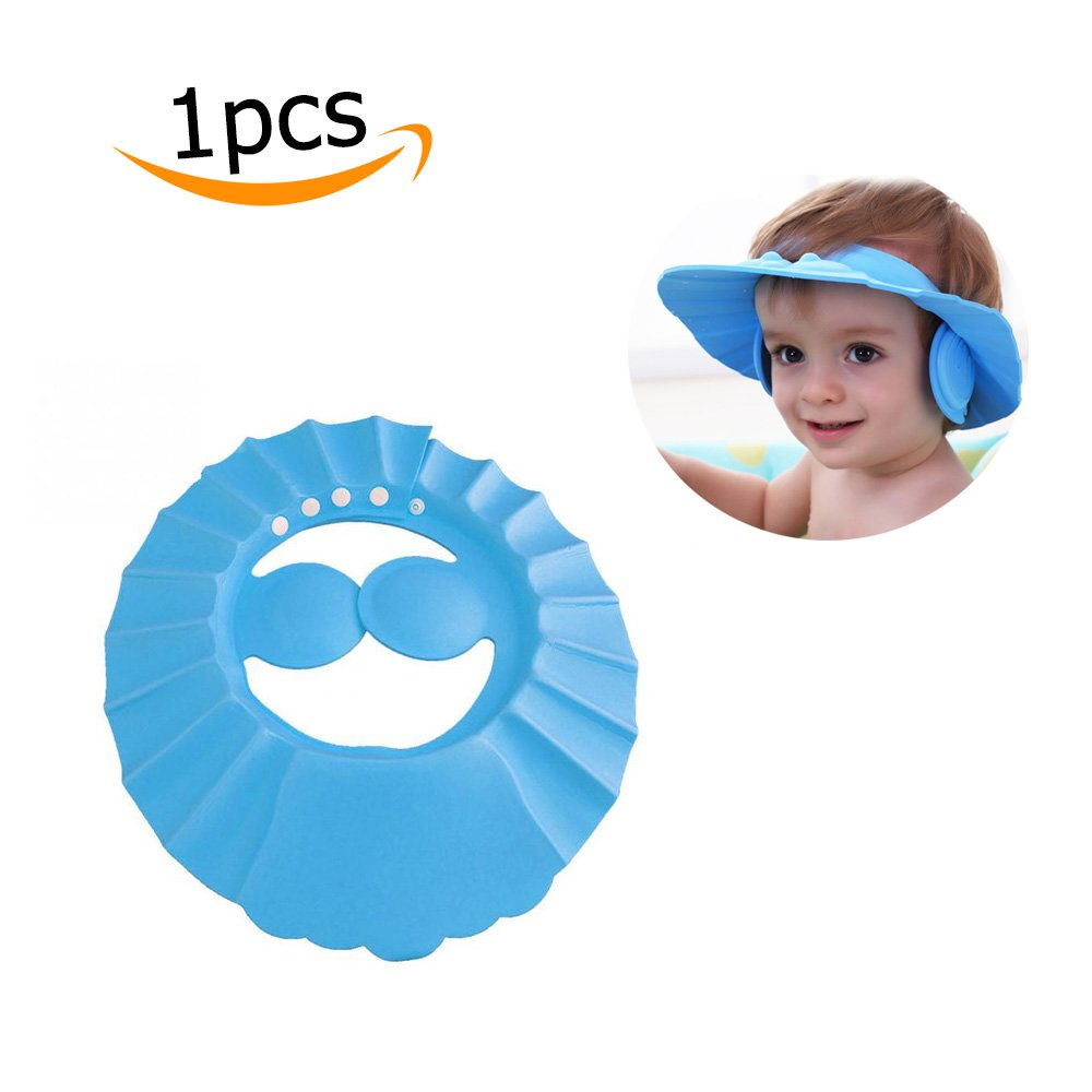 Baby Shower Cap Adjustable Waterproof Safe Earmuffs Bathing Cap Wash Hair Ear Shield for Baby Children Kids (1pc, Pink) Pro-Noke
