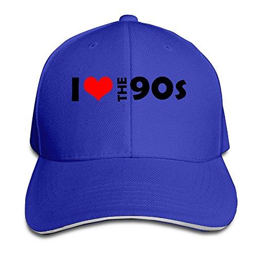 ACMIRAN I Love The 90's Adjustable Sandwich Baseball Caps One Size RoyalBlue (Wigs Minneapolis)