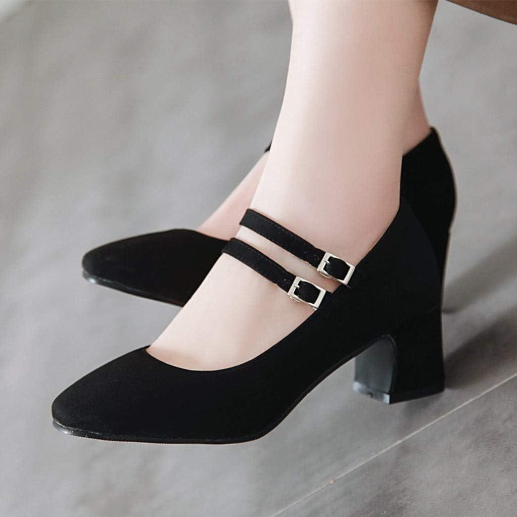 Artfaerie Damen Mary Jane Riemchen Pumps Runde Spitze Blockabsatz Schnalle Niedriger Absatz Chunky Heels Shoes