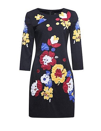 PU&PU Robe Aux femmes Gaine Simple,Fleur Col Arrondi Au dessus du genou Polyester , black-l , black-l