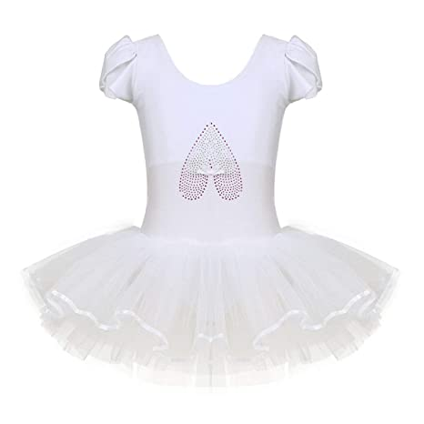 inlzdz Girls Sequined Camisole Ballet Tutu Dress Gymnastic Dance Leotard Skirt Fancy Fairy Princess Dance wear Costume
