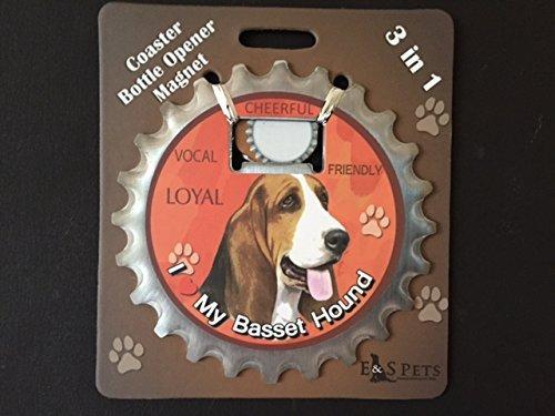 E&S Pets Basset Hound Bottle Opener, Coaster and Magnet
