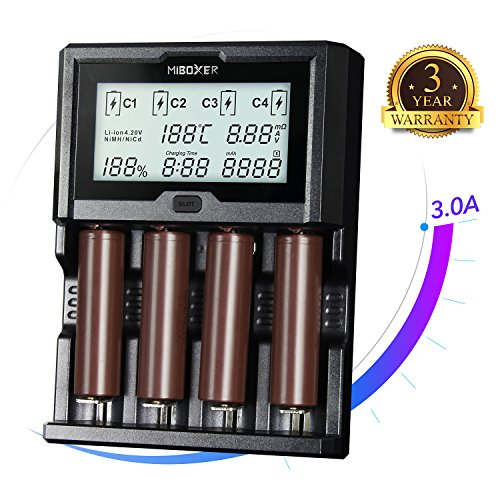 18650 Battery Charger,Miboxer 4 bay LCD Display Speedy 3A Universal Smart Charger for Rechargeable Batteries NiMH IMR ICR NiCd AA AAA Liion LiFePO4 10440 14500 16340 18650 RCR123 26650 21700 Charger