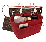Felt Insert Fabric Purse Organizer Bag, Bag Insert In Bag with Zipper Inner Pocket Fits Neverfull Speedy 8010 Red XL