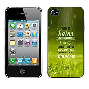 Qstar Arte & diseño plástico duro Fundas Cover Cubre Hard Case Cover para Apple iPhone 4 / iPhone 4S / 4S ( Rain Parade Rainbow Look Up Quote Life)