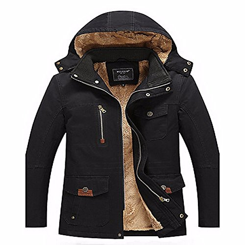 Regular ZHUDJ Polyester Boho Daily Simple Padded Street Sleeves Cotton Solid Work Chic Long Cotton Casual Polyester Black Men's Print Coat XqXr6x15w