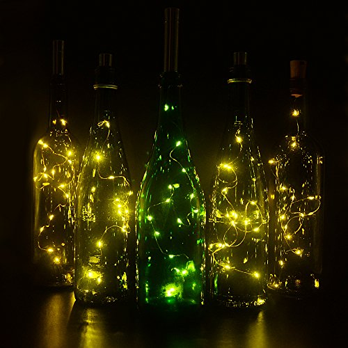 [Bottle Cork Lights, iGopeaks 30inch/ 75cm 15 LED Copper Wire Lights String Starry LED Lights - Up to 72 hours Lighting - for Wine Bottle DIY, Party, Decor, Christmas, Halloween, Wedding - Warm] (Diy Halloween Decor)