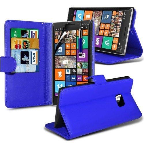Nokia Lumia 930 Cubierta del caso con cuero (Azul) Plus de regalo libre, Protector de pantalla y un lápiz óptico, Solicitar ahora mejor caja del teléfono Valorado en Amazon! By FinestPhoneCases