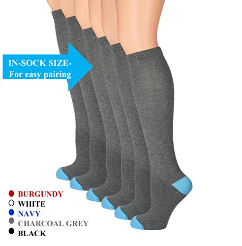 Knee Socks Charcoal - The Top Fit Womens Knee High Cotton Compression Solid Dress Socks 9-11, Charcoal Gray- 6 Pk