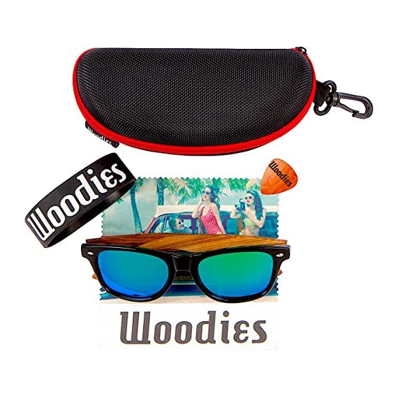 Woodies Zebra Wood Sunglasses with Mirror Polarized Lens for Men and Women (Green) 4 <p>Woodies Zebra Wood Sunglasses with mirror lens offer a combination of 100% real zebra wood arms that support a plastic frame. The lightweight zebra wood offers a comfortable fit that is durable and sturdy at the same time. Our unique stainless-steel, double-spring hinges are sturdy and designed to keep their shape year after year. The lenses are specially designed so that they are both dark and polarized, offering 100% UVA/UVB protection even in intense lighting conditions. These glasses are stylish, durable, and natural. Each pair includes a durable black carrying case, a microfiber lens cleaning cloth and a wood guitar pick! 30-Day Money back Guarantee With Woodies, I set out to create the world's best value for $25 sunglasses. Compare these to Shwood, Knockaround Toms, Neff, 4est, Quay, Oakley, and even RayBans! If you're not convinced these are the best quality for $25, we'll give you a full refund. Espanol: Lentes de Sol para Hombre y Mujeres, Gafas Handmade from REAL Zebra Wood (50% Lighter than Normal Sunglasses) Includes FREE Carrying Case, Lens Cloth, and Wood Guitar Pick Polarized Lenses Provide 100% UVA/UVB Protection 30-Day Money Back Guarantee</p>