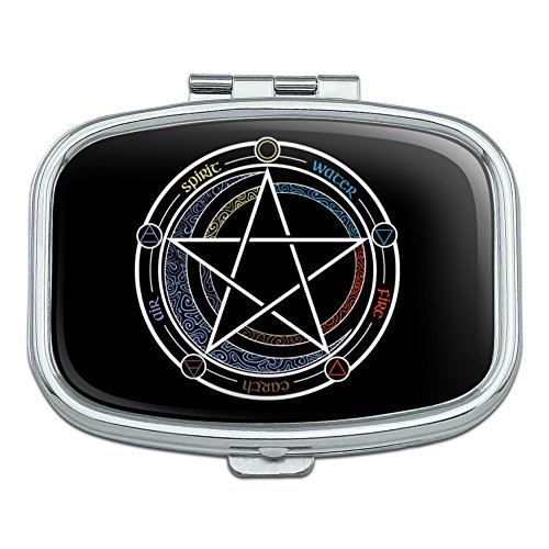 Pentagram Pentacle Star Wiccan Witch Rectangle Pill Case Trinket Gift ()