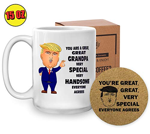 Trump Grandpa Mug - Father's Day Gifts for Grandpa Dad Presents - President Donald Conservative Republicans Christmas Gift Ideas - 15 Oz