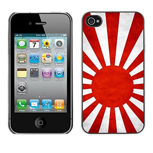 Omega Case PC Polycarbonate Cas Coque Drapeau - Apple iPhone 4 / 4S ( Japanese Naval Ensign Grunge Flag )