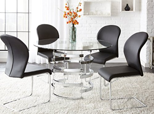 Round Glass Dining Table, Set For 4, Pedestal ,Contemporary Design In Your Living Room (Dining Set Round Pedestal compare prices)