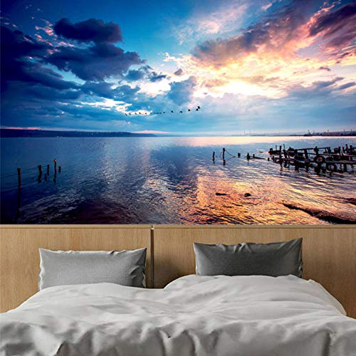 Wxmztt Custom Mural Wallpaper 3D Sunset Sky Seaside Landscape Photo Wallpaper Living Room Tv Sofa Theme Hotel Backdrop Wall Decor Mural-F (The Sky Was The Color Of Television)